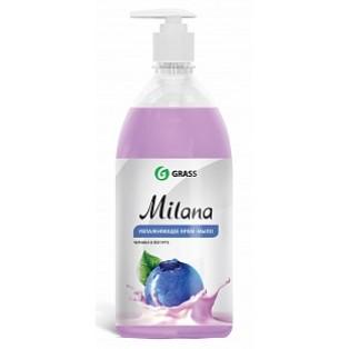 "126301Средство для мытья кожи рук ""Milana"" черника в йогурте с дозатором (флакон 1000 мл)"