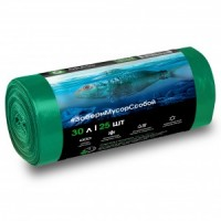 PP-0026 Мешок для мусора ПНД в рулоне  30 л. 46*55 7 мкр (зеленый) (рул. 25 шт)