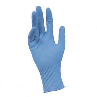 4810b Перчатки нитриловые с текстурой на пальцах, цвет голубой